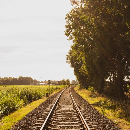 Wanderlust: railroad track into infinity Location: Germany, North Rhine-Westphalia Standard-Bild - 109581699
