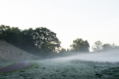 Fog in the early morning. Location: Germany, North Rhine - Westphalia, Borken Standard-Bild - 109581704