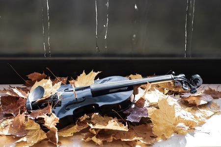 Black violin in maple leaves on the windowsillViolin in leaves in natural light Standard-Bild - 110710618