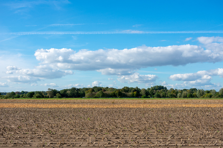 beautiful blue sky with cloudscape over fields. Location: Germany, North Rhine - Westphalia, Borken Standard-Bild - 110710668