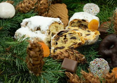 Delicious Christmas cake on fir branches.