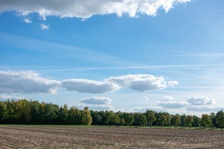 beautiful blue cloud sky over fields and meadows. Location: Germany, North Rhine - Westphalia, Borken Standard-Bild - 110710861