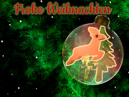 Christmas background with fir branches, christmas ball with christmas decoration and text.Illustration with text in german: Merry Christmas Standard-Bild - 117804152