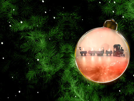 Christmas background with fir branches and christmas ball with christmas train illustration Standard-Bild - 117804155