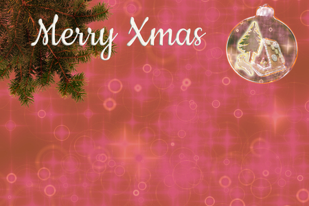 beautiful christmas tree background with fir branches, snow globe and text: Merry Xmas, with copy space.illustration Standard-Bild - 117804156