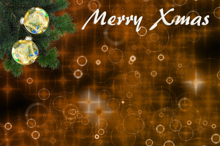 beautiful christmas background with fir branches, christmas balls and text: Merry Xmas, with copy space.illustration Standard-Bild - 117804158