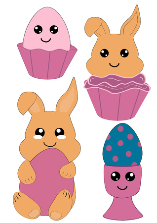 Kawaii Easter set with Easter bunny, cupcake and easter egg. Vector file Eps 10 Çizim