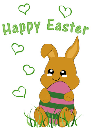 Kawaii Easter card with cute rabbit kid and the text Happy Easter. Vector file EPS 10 Standard-Bild - 125869752