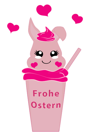Kawaii easter bunny girl in milkshake. Vector file EPS 10