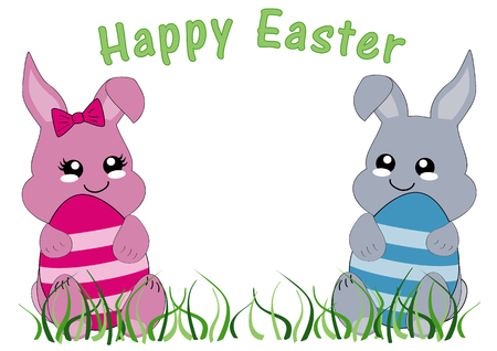 Kawaii Easter card with bunny girl, bunny boy and the text Happy Easter. Vector file EPS 10 Standard-Bild - 125869755