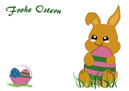 Kawaii easter card with cute rabbit kid, easter basket and the text happy easter. Vector file EPS 10. With text Happy Easter in german Standard-Bild - 125869756