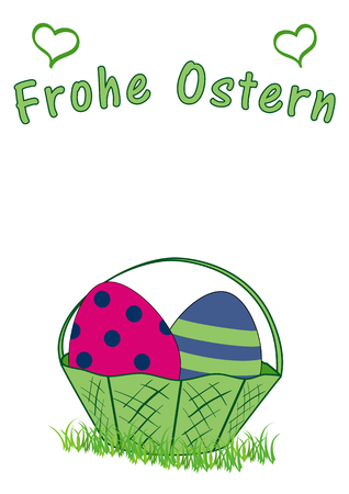 Easter card with Easter basket with Easter eggs, and the text Happy Easter. Vector file EPS 10. With text Happy Easter in german