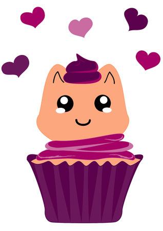cute cupcake with kitten in kawaii style. Vector file eps 10 Standard-Bild - 117804183
