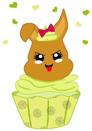 cute lemons cupcake with bunny in kawaii style. Vector file eps 10 Standard-Bild - 117804190
