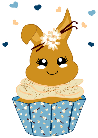 cute vanilla cupcake with bunny in kawaii style. Vector file eps 10 일러스트