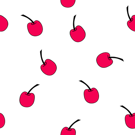 Seamless pattern of red cherries. Vector file EPS 10 Çizim