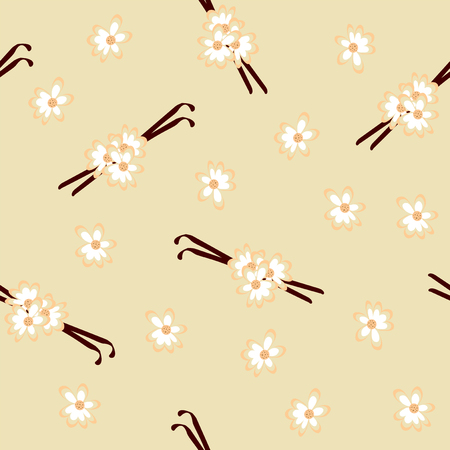 Seamless pattern with vanilla pods and blossoms. Vector file eps 10 Standard-Bild - 117804191