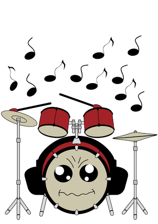 Funny drums in kawaii style with headphones. Vector file EPS 10.