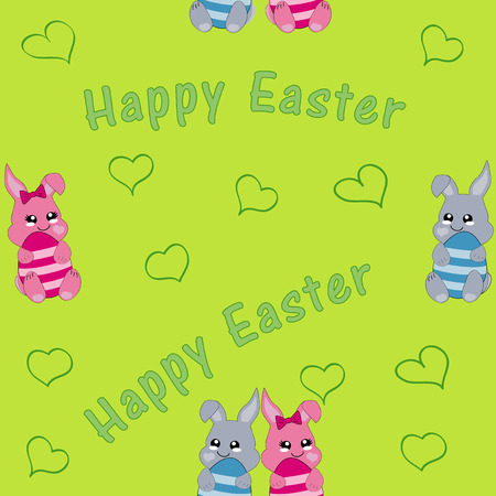 seamless pattern with easter bunny couple. Kawaii style, eps 10