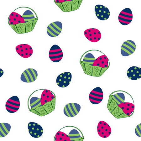 seamless easter design with easter eggs and fruit basket. Vector eps 10 Çizim