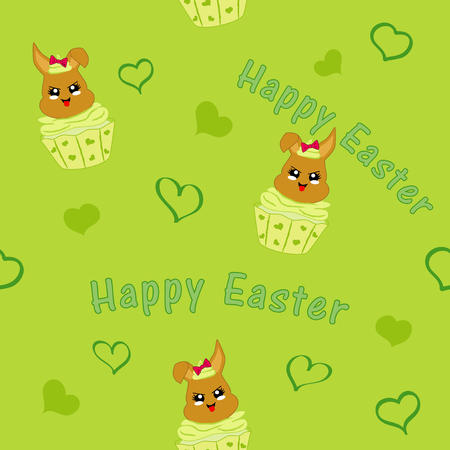 seamless pattern with easter bunny in cupcake. Kawaii style, eps 10