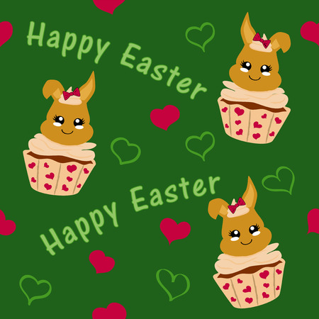 cute easter pattern with easter bunny in cupcake. Kawaii style, eps 10 Standard-Bild - 125090134