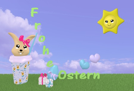 3d Kawaii easter bunny on green meadow with sun, decorations, german text: happy easter and cloud sky. 3d rendering