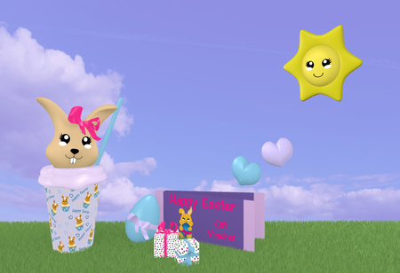 3d Kawaii easter bunny on green meadow with sun, gift certificate and cloud sky. 3d rendering Standard-Bild - 120483761