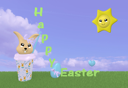 3d Kawaii easter bunny on green meadow with sun, decorations and cloud sky. 3d rendering Standard-Bild - 120483762