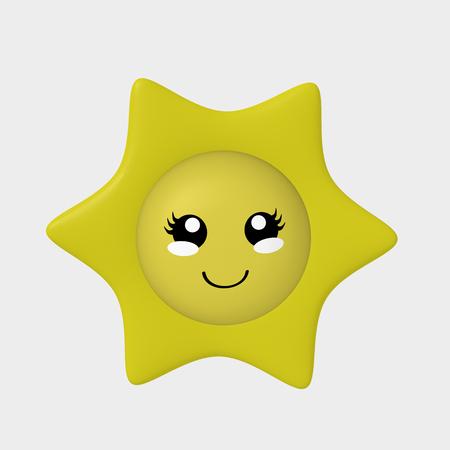cute 3d kawaii sun isolated on white. 3d rendering Standard-Bild - 120483766