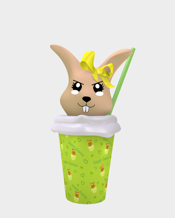 Naughty 3d kawaii bunny in milkshake isolated on white. 3d rendering Standard-Bild - 120483769