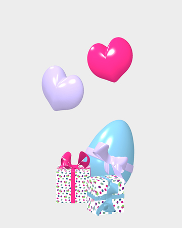 3d easter decorations isolated on white. 3d rendering