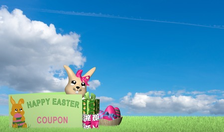 Gift card with kawaii easter bunny, presents and easter basket on green meadow with blue cloud sky. 3d rendering
