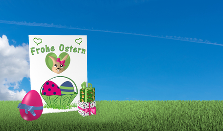 Greeting card from an easter bunny looks with presents and easter egg on green meadow with blue cloud sky. With text in german: Happy Easter. 3d rendering Standard-Bild - 120483777