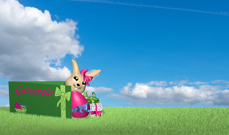 Gift card with Easter bunny, presents and easter egg on green meadow with blue cloud sky. With text in german: Happy Easter and voucher. 3d rendering Stockfoto - 120483778