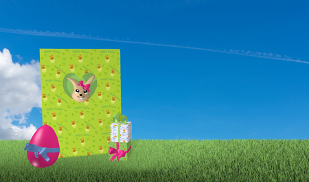 Greeting card from an easter bunny looks with presents and easter egg on green meadow with blue cloud sky. 3d rendering