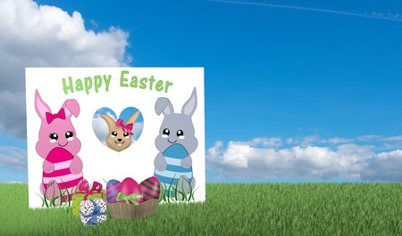 Greeting card with kawaii bunny out of which an easter bunny looks with presents and easter basket on green meadow with blue cloud sky. 3d rendering