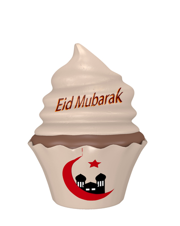 Cupcake with the text Eid Mubarak, Crescent and Mosque. 3d rendering Stok Fotoğraf