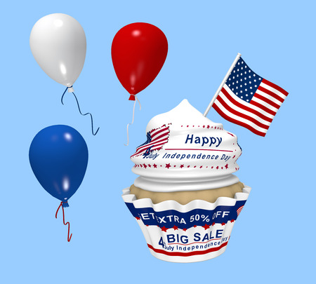 Cupcake with design for the American Independence Day with Sale advertising, balloons and country flag. 3d rendering Stok Fotoğraf