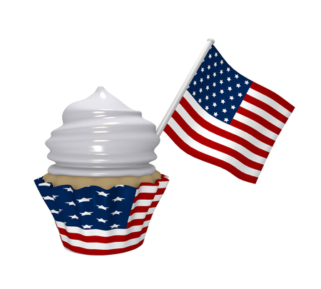 Cupcake with USA design and flag. 3d rendering