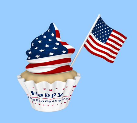 Cupcake with USA design and the text Happy Independence Day. 3d rendering Stok Fotoğraf