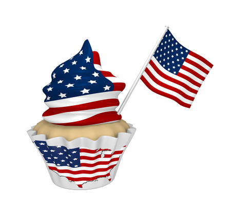 Cupcake with USA design. 3d rendering