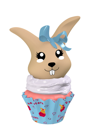 3d Kawaii cupcake with cute bunny and blue bow. Isolated on white. 3d rendering Standard-Bild - 127294014
