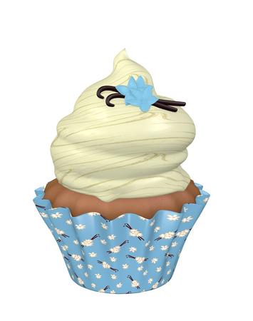 3d vanilla cupcake. 3d render
