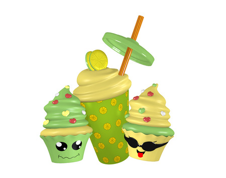 Lemon milkshake with funny kawaii cupcakes. 3d render
