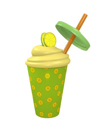 Lemons milkshake with straw. 3d render Stok Fotoğraf