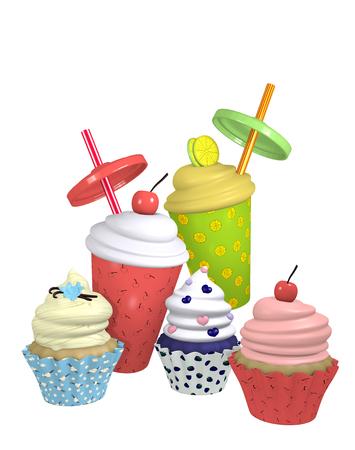 Cupcakes and milkshakes in different varieties. 3d render