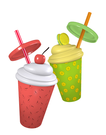 Lemon and cherry milkshakes with cream topping and straw. 3d render Standard-Bild - 127294028