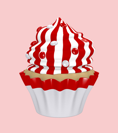 Cupcake with cream cap made of red and white stripes with smarties. 3d render