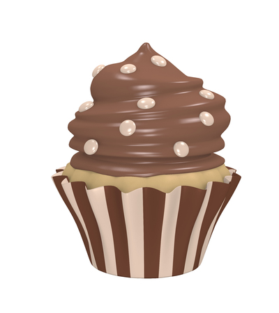 Chocolate cupcake in a striped tin with chocolate cream and smarties. 3d render